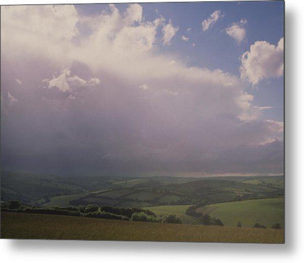 Rain Storm Over Exmoor Metal Print by Tony Craddock/science Photo Library