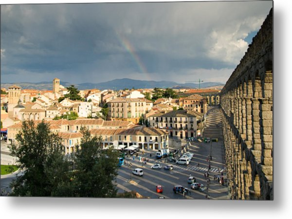 Rainbow And Ancient Aqueduct Metal Print by Viacheslav Savitskiy