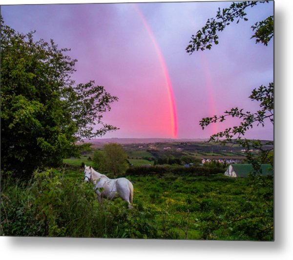 Rainbow At Sunset In County Clare Metal Print