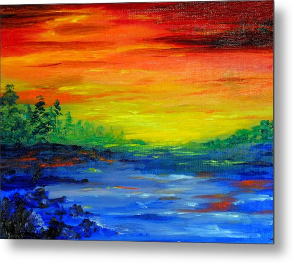 Rainbow Back Waters Metal Print