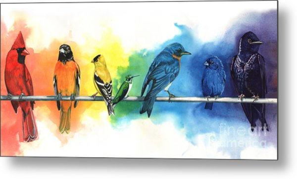Rainbow Birds Metal Print