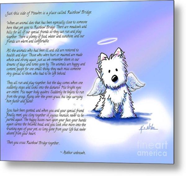 Rainbow Bridge Poem With Westie Metal Print