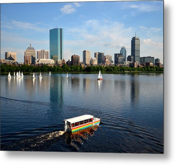 Rainbow Duck Boat On The Charles Metal Print