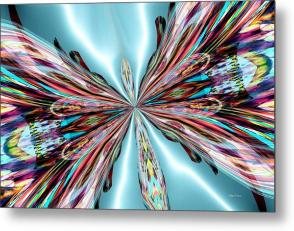 Rainbow Glass Butterfly On Blue Satin Metal Print