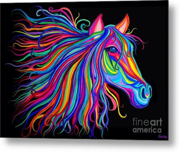 Rainbow Horse Too Metal Print
