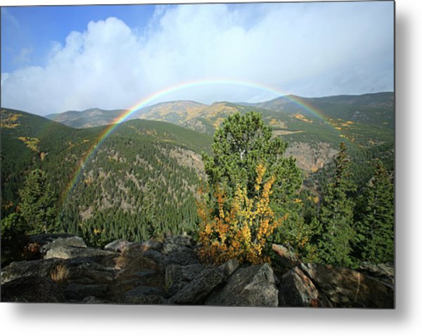 Rainbow In Mountains Metal Print