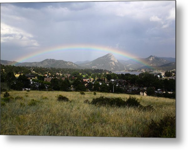 Rainbow Over Lake Estes Metal Print