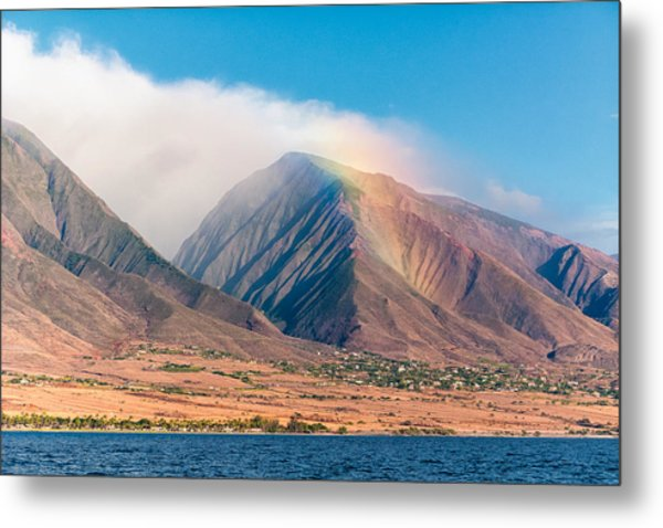 Rainbow Over Maui Mountains   Metal Print