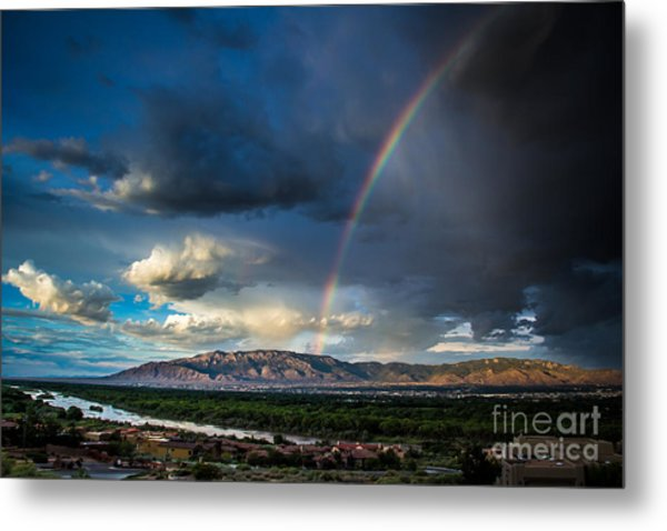 Rainbow Over The Sandias Metal Print