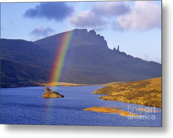 Rainbow Over The Storr Metal Print by Derek Croucher