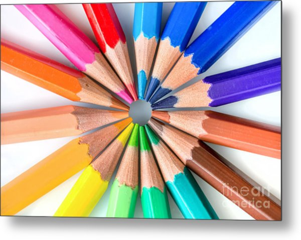 Rainbow Pencils Metal Print