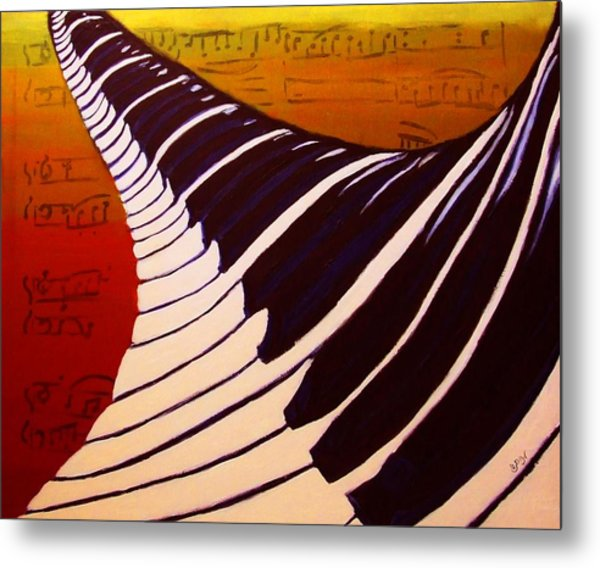 Rainbow Piano Keyboard Twist In Acrylic Paint With Sheet Music Notes In Blue Yellow Orange Red Metal Print