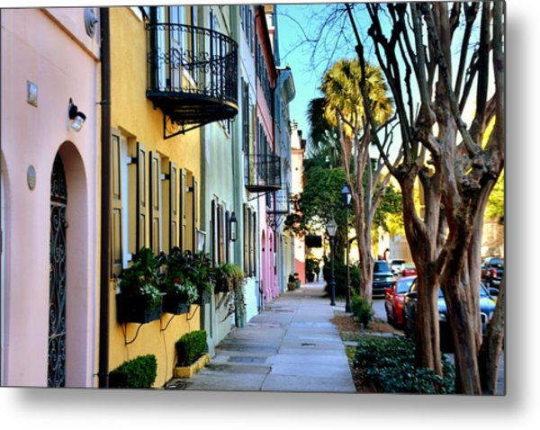 Metal Print featuring the photograph Rainbow Row Hdr by Lisa Wooten