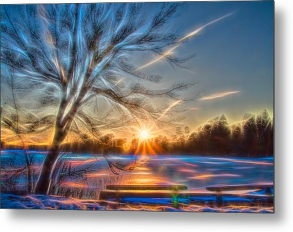 Rainbow Sunset On Snow Covered Lake Metal Print