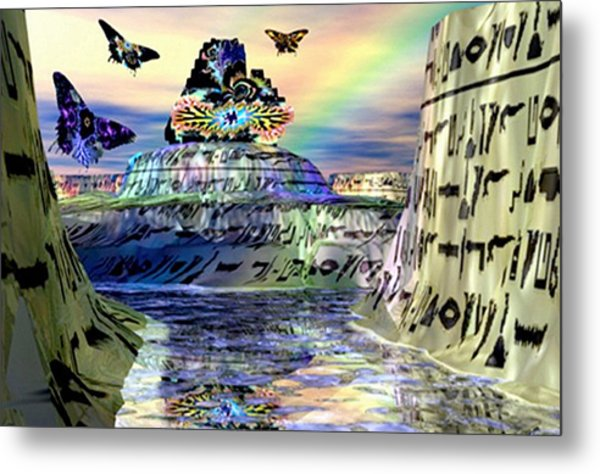 Rainbow Temple Metal Print by Rebecca Phillips