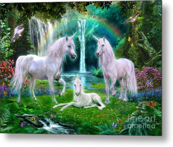 Rainbow Unicorn Family Metal Print