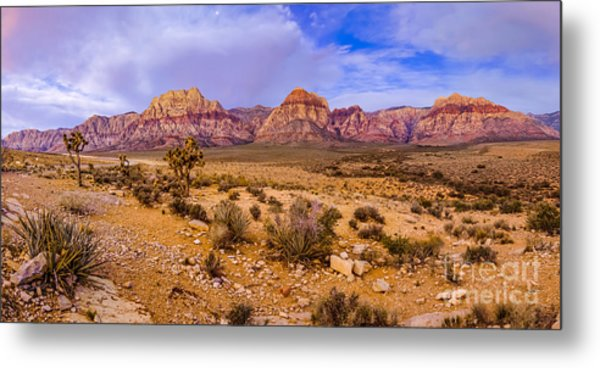 Rainbow Wilderness Panorama At Red Rock Canyon Before Sunrise - Las Vegas Nevada Metal Print