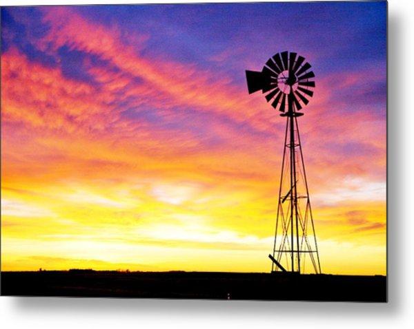 Rainbow Windmill Metal Print