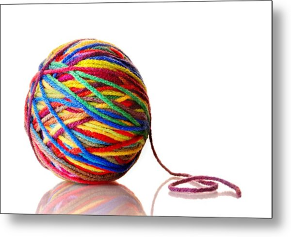 Rainbow Yarn Metal Print