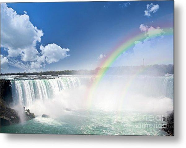 Rainbows At Niagara Falls Metal Print