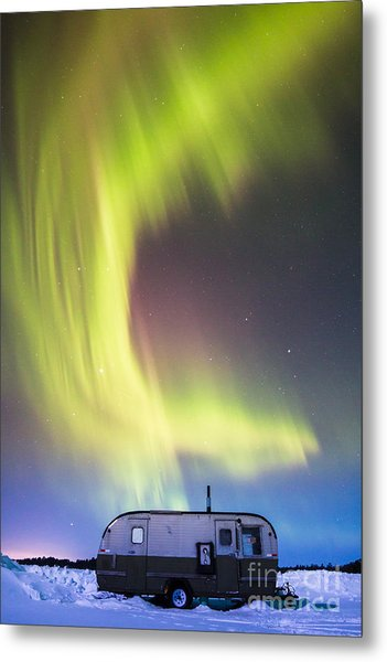 Raining Lights On Rainy Lake Metal Print