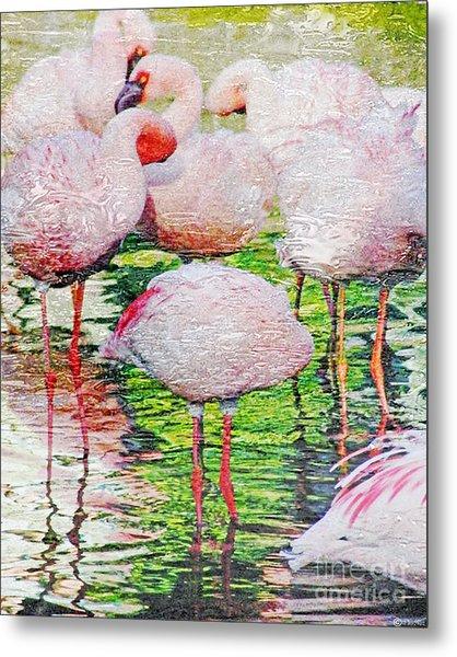 Rainy Day Flamingos 2 Metal Print