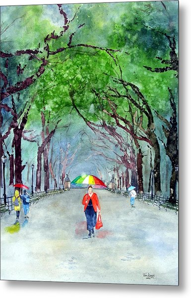 Rainy Day In Central Park Metal Print