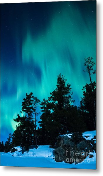 Rainy Lake Lights Metal Print