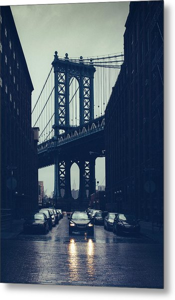 Rainy New York City Metal Print by Ferrantraite