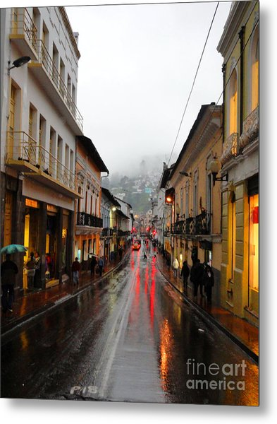 Rainy Quito Street Metal Print