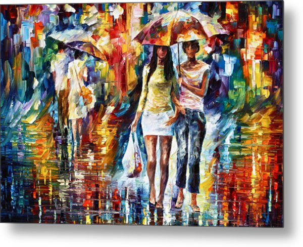 Rainy Shopping Metal Print