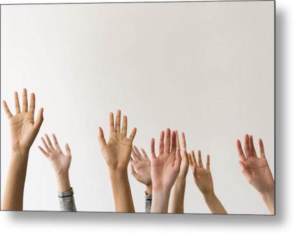 Raised Hands Of Women Metal Print by JGI/Jamie Grill