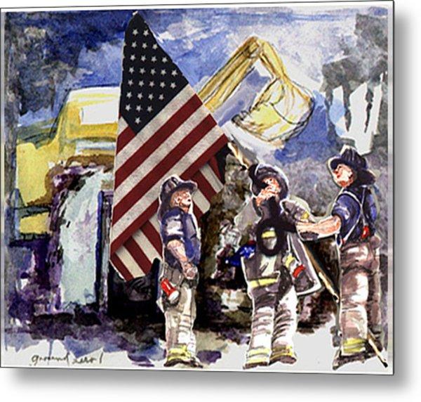Raising The Flag At Ground Zero Metal Print by Elle Smith Fagan