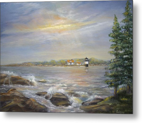 Metal Print featuring the painting Ram Island Lighthouse Main by Katalin Luczay