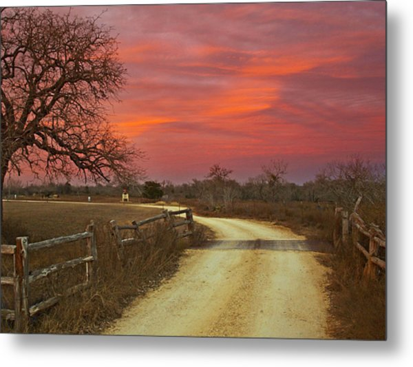 Ranch Under A Blazing Sky Metal Print