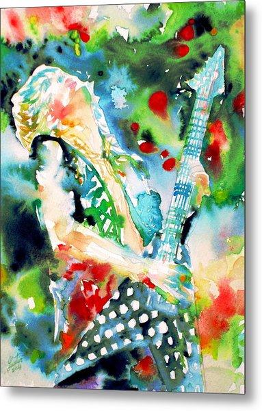 Randy Rhoads Playing The Guitar - Watercolor Portrait Metal Print