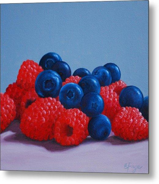 Raspberries And Blueberries Metal Print