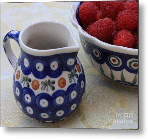 Raspberries With Cream Metal Print