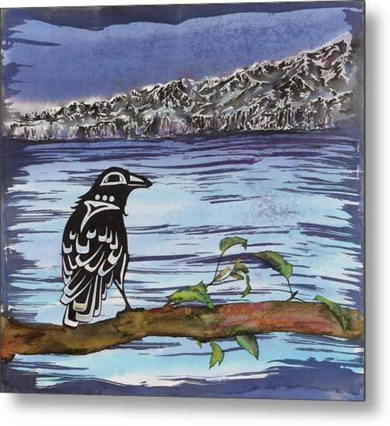 Raven And Ice Metal Print