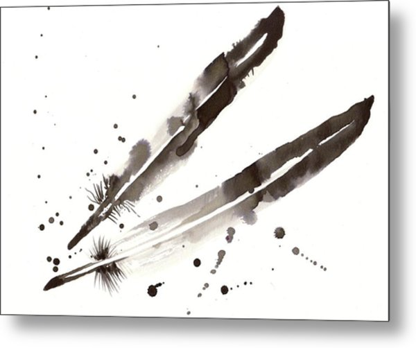 Raven Crow Feathers Metal Print