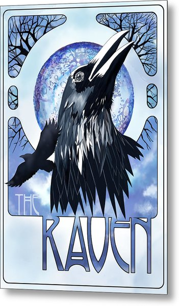 Raven Illustration Metal Print