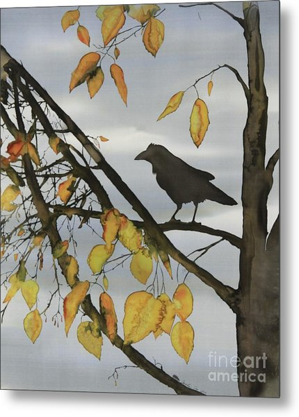Raven In Birch Metal Print