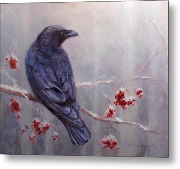Raven In The Stillness - Black Bird Or Crow Resting In Winter Forest Metal Print