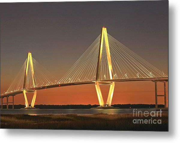 Ravenel Bridge At Dusk Metal Print