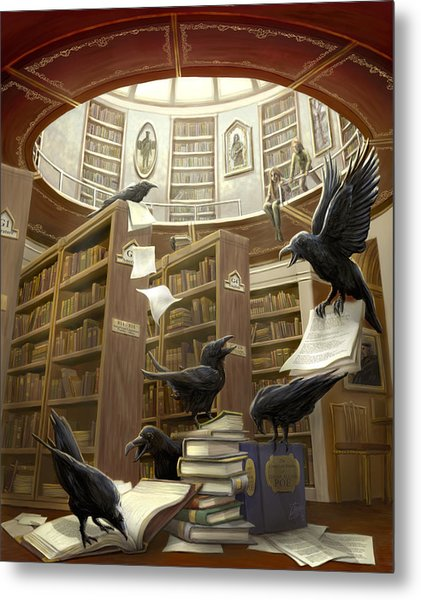 Ravens In The Library Metal Print