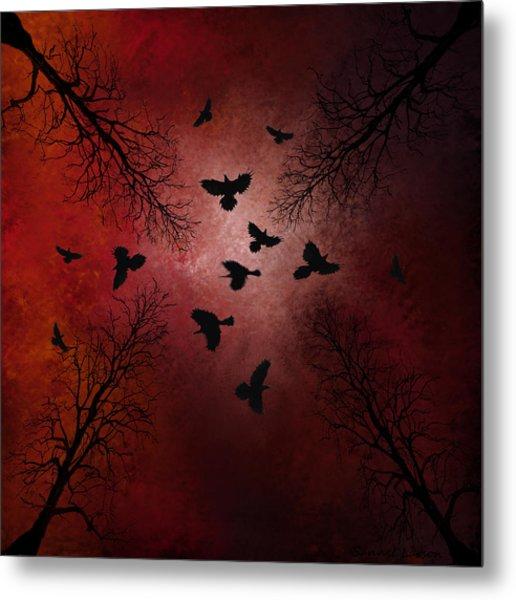 Ravens In The Sky Metal Print