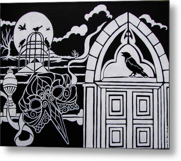 Ravens' Mask Metal Print by Jan Wendt