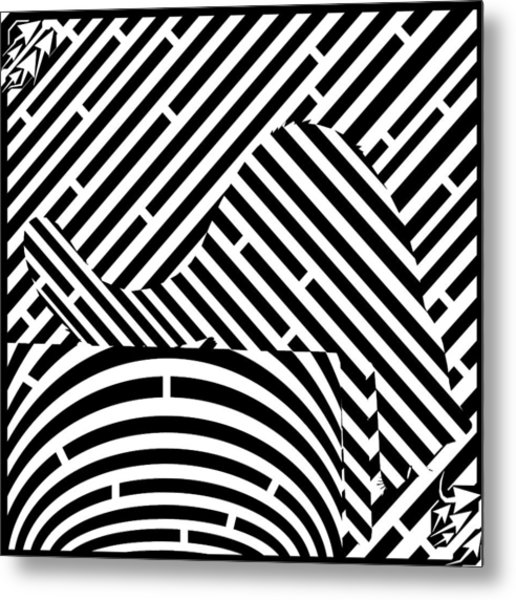 Reaching Cat Maze Op Art Metal Print by Yonatan Frimer Op Art Mazes
