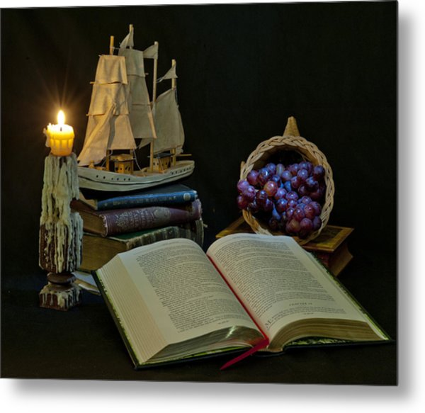 Metal Print featuring the photograph Reading By Candlelight by Rick Hartigan