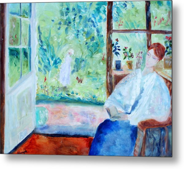 Reading By The Garden Metal Print